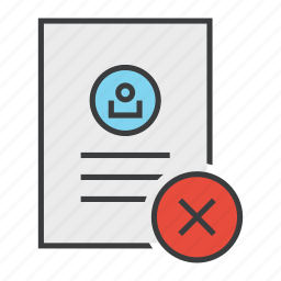 account, cancel, details, document, profile, reject, user icon