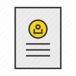 account, application, details, document, profile, resume, user icon