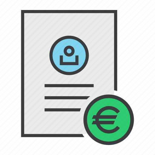 account, banking, document, euro, report, statement, user icon