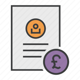 account, banking, document, pound, report, statement, user icon