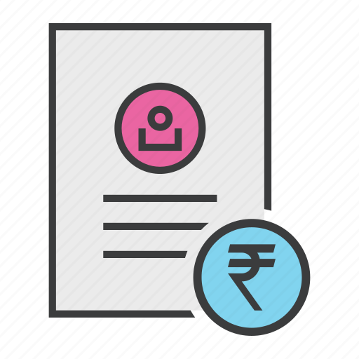 account, banking, document, report, rupee, statement, user icon