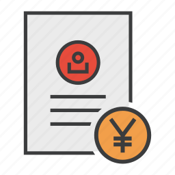 account, banking, document, report, statement, user, yen icon