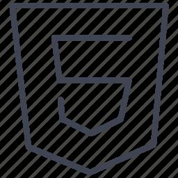coding, development, documents, five, html, web icon