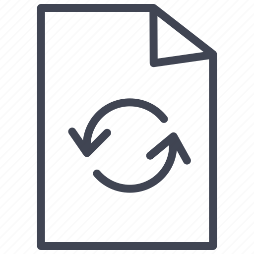 arrows, document, documents, file, paper, recycle icon