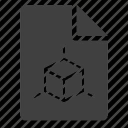 chart, cube, document, model, modeling, render, scheme icon