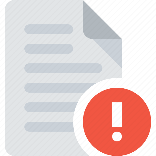 alert, attention, document, file icon