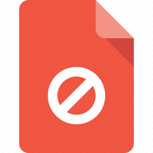 block, document, file, forbidden icon