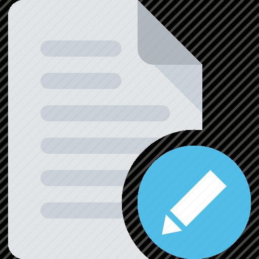 document, edit, file, pencil icon