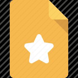 document, favorite, file, star icon