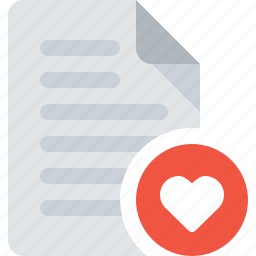 document, file, heart, like, love icon