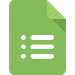 document, file, list, type icon