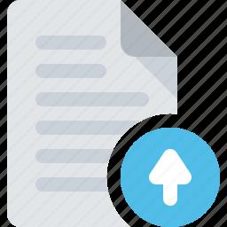 arrow, document, up, upload icon