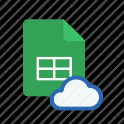 cloud, spreadsheet icon