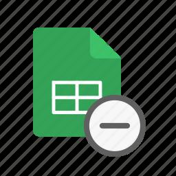 remove, spreadsheet icon
