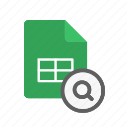 search, spreadsheet icon