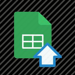 spreadsheet, upload icon