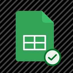 accept, spreadsheet icon