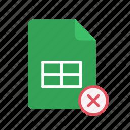 close, spreadsheet icon