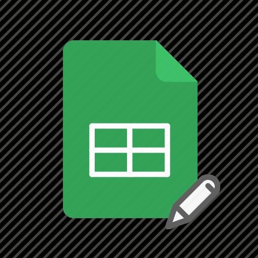 edit, spreadsheet icon