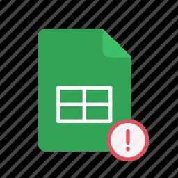 exclmark, spreadsheet icon