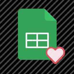 favorite, spreadsheet icon