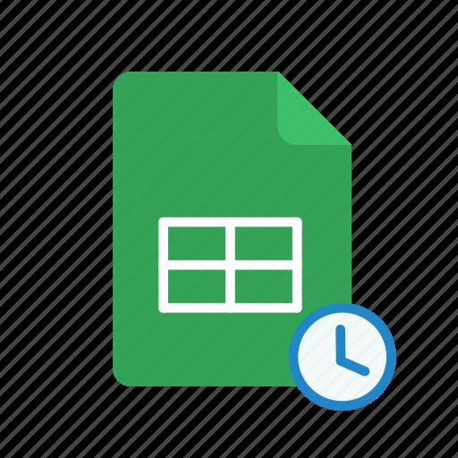 history, spreadsheet icon