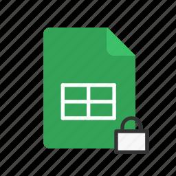 locked, spreadsheet icon