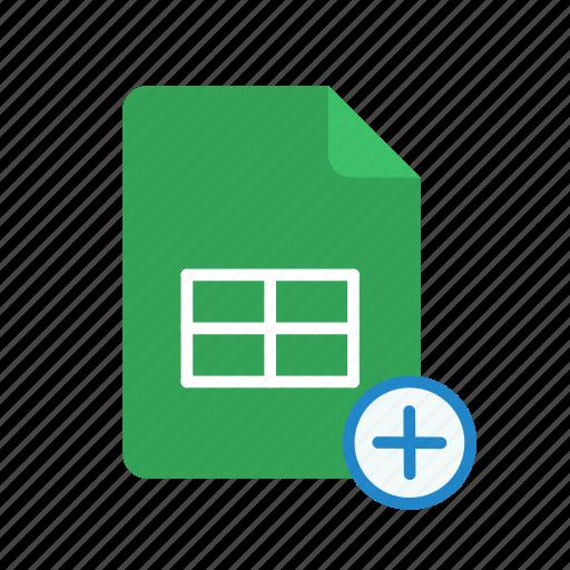 plus, spreadsheet icon