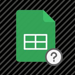 qmark, spreadsheet icon
