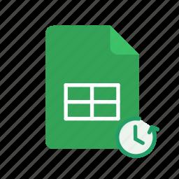restore, spreadsheet icon