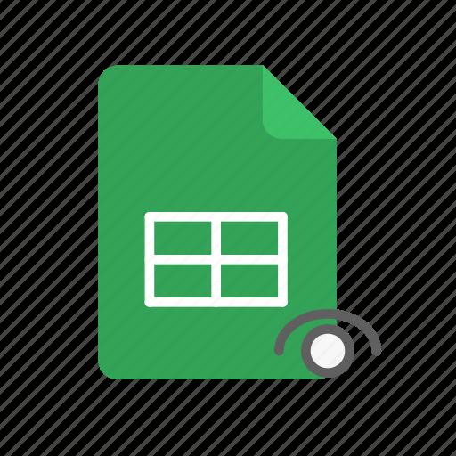 spreadsheet, visible icon