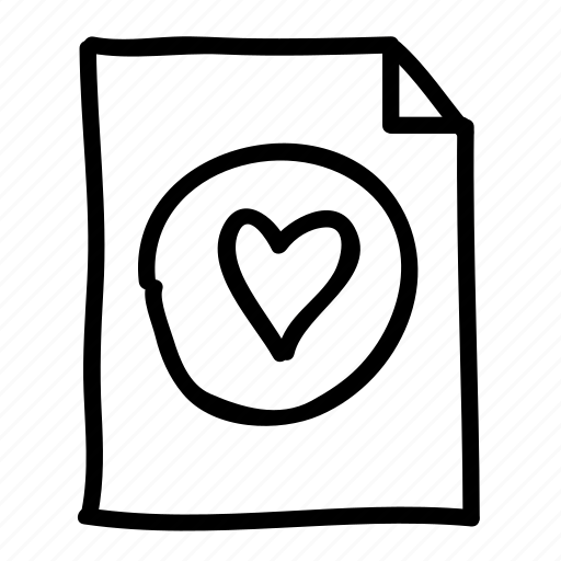 documents, favorite, file, files, handdrawn, heart, pages icon