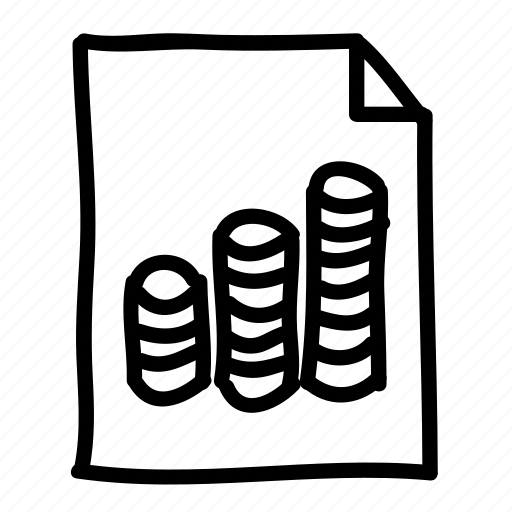 coins, documents, files, handdrawn, money, pages, sheets icon