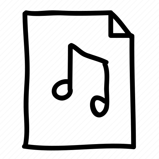 audio, documents, files, handdrawn, music, pages, sheets icon