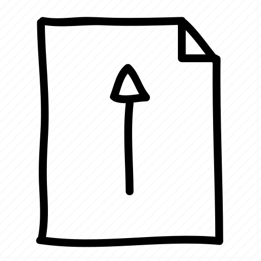 documents, file, files, handdrawn, pages, sheets, up arrow icon