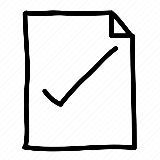 checkmark, documents, file, files, handdrawn, pages, sheets icon