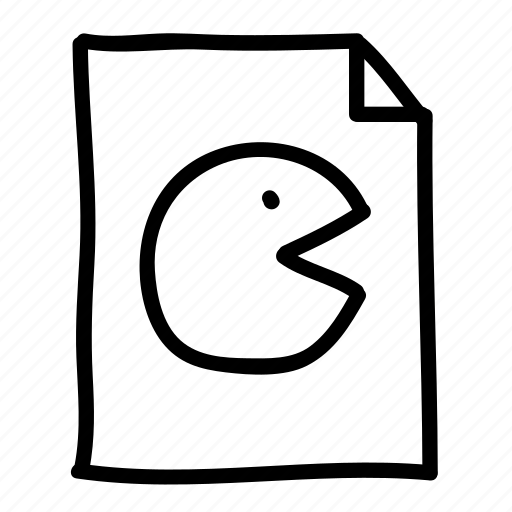 documents, file, files, handdrawn, pac-man, pages, sheets icon