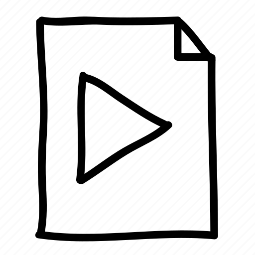 documents, file, files, handdrawn, media, pages, play icon