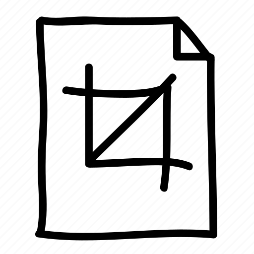 crop tool, documents, file, files, handdrawn, pages, sheets icon