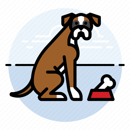 boxer, dog, with icon