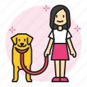 kennel, care, pet, dog, owner, stroll, walk icon