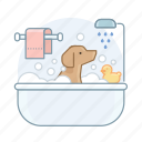 dog, dog bath, doggy, pet, puppy, toiletry icon