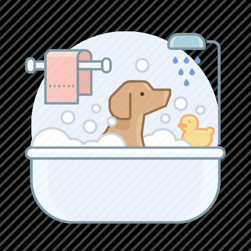 dog, dog bath, pet, toiletry icon
