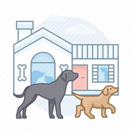 dog house, dogs, kennels, pets icon