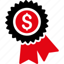 award, best, business, dollar, finance, money, seal icon