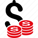 bank, business, cash, coins, dollar, finance, money icon