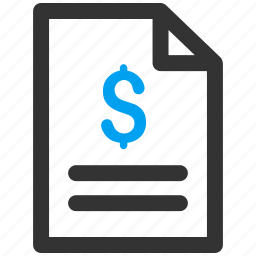 bill, business offer, contract, dollar, finance, purchase, quote icon