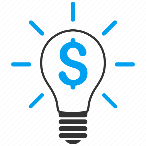 bulb, dollar, electric, electricity, light, money, power icon