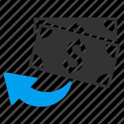 cancel transaction, cashback, chargeback, money back, refund, restore, undo payment icon