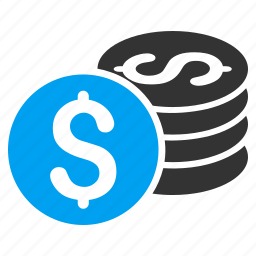bank, business, cash, coin stack, dollar coins, money, payment icon